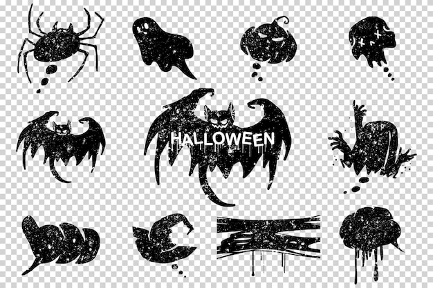 Halloween grunge speech bubbles black silhouette set isolated on transparent.