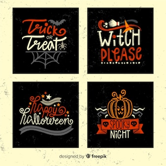 Halloween hand drawn cards set