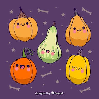 Halloween hand drawn cute pumpkins