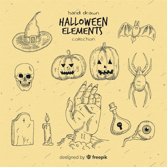 Halloween hand drawn elements collection