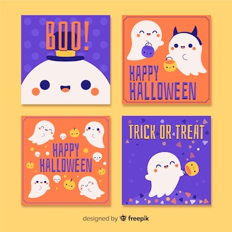 Halloween hand drawn greeting cards set