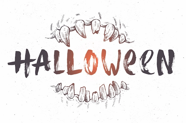Halloween hand drawn illustration. jaws of a monster and brush calligraphy.