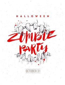 Halloween hand drawn illustration. zombie party poster or flyer. jaws of a monster and brush calligraphy headline.