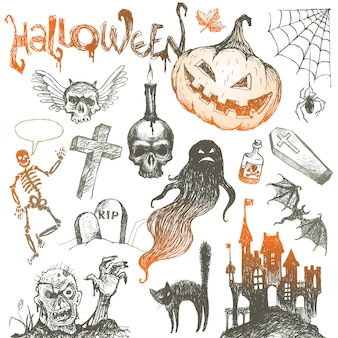 Halloween and hand drawn set
