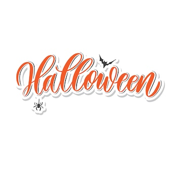Halloween  -  hand lettering card.