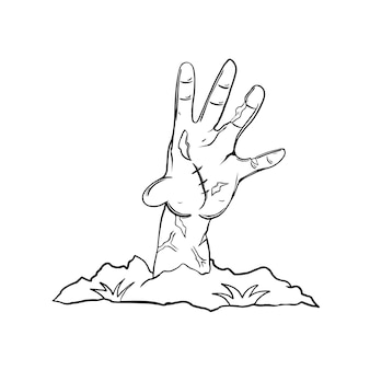 Thsirtのハロウィーンの手ゾンビ黒と白のイラスト