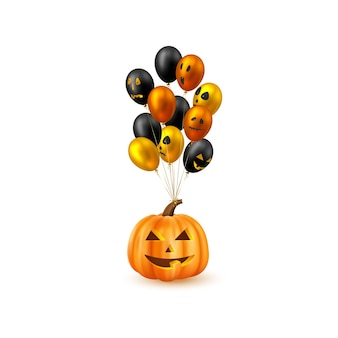 Хэллоуин, висящая тыква с глянцевыми воздушными шарами. лица монстров. изолированные на белом фоне. векторная иллюстрация.