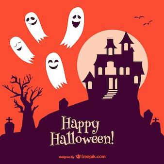 Хэллоуин привидениями вектор замок