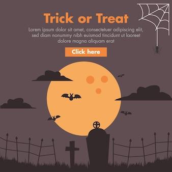 Halloween haunted cemetery flat design illustration