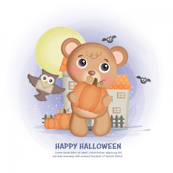 Halloween haunted house background with a bear.