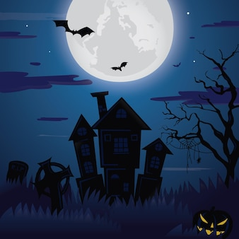 Halloween haunted house background with castle and bats