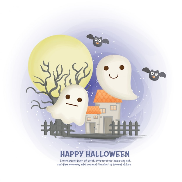Halloween haunted house background with cute ghost.