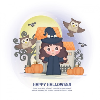 Halloween haunted house background with a witch.
