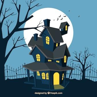 ハロウィーンの幽霊の家の背景