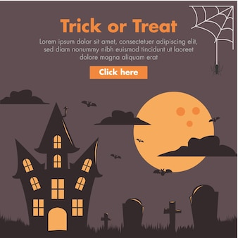 Halloween haunted house flat design illustration
