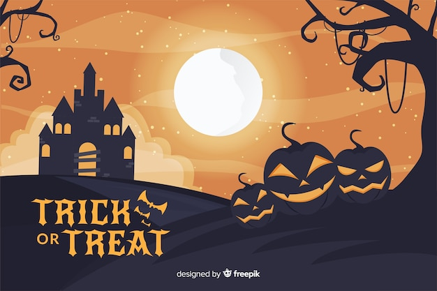 Halloween haunted house and full moon background