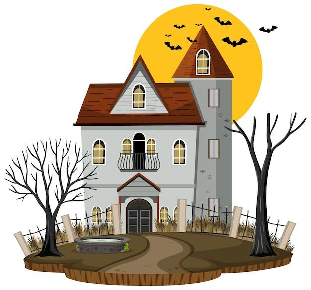 Хэллоуин дом с привидениями на белом фоне