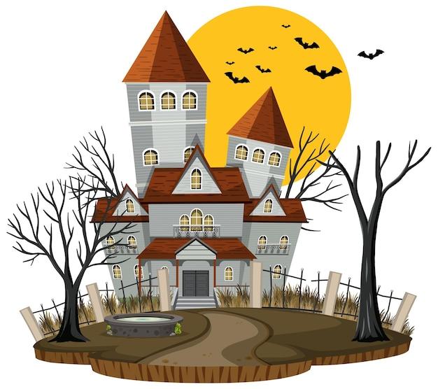 白い背景の上のハロウィーンのお化け屋敷