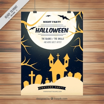 Halloween haunted house poster and cemetery