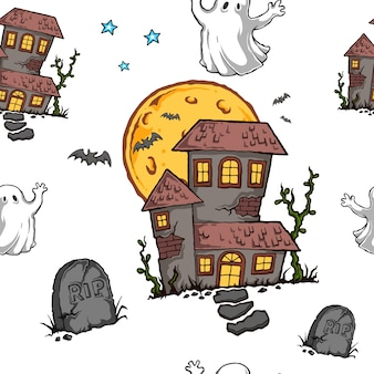 Halloween haunted house seamless pattern