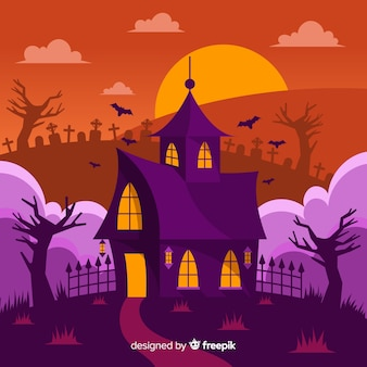 Halloween haunted house with flat design