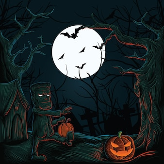 Halloween haunted house with pumpkins ghosts bats and graveyard monsters vector design