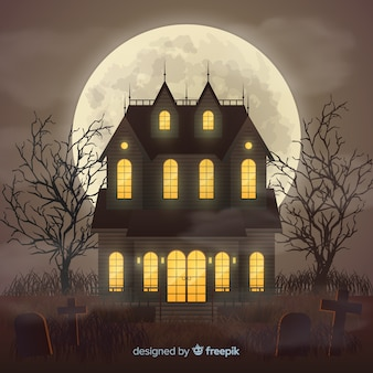 Halloween haunted house con un design realistico