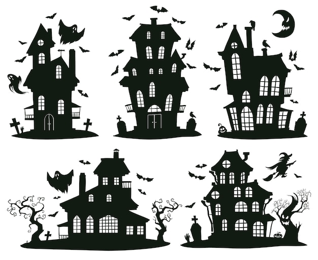 Halloween haunted houses. cartoon spooky halloween ghost castles, monsters houses isolated vector symbols set. creepy halloween haunted houses. castle with ghost, horror halloween house illustration