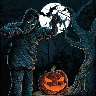 Место с привидениями на хэллоуин с тыквами, зомби, летучими мышами и кладбищенскими монстрами, векторный дизайн