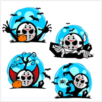 Halloween hockey mask cartoon logo set