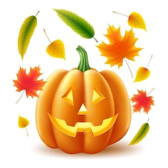 ハロウィーンの休日と秋のシンボルセットイラスト