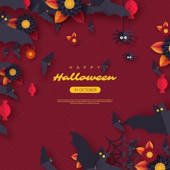 ハロウィーンの休日の背景。ペーパーカットスタイルのフライングコウモリ、キャンディー、花、クモ。あいさつテキストと紫色の背景。ベクトルイラスト。