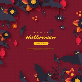 Halloween holiday background. paper cut style flying bats, candy, flowers and spiders. purple color background with greeting text. vector illustration.