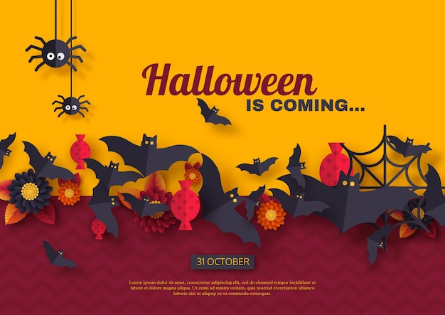 Halloween holiday background. paper cut style flying bats, candy, flowers and spiders. purple and yellow color background with greeting text, vector illustration.