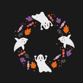 Halloween holiday banner design with candy corn and pumpkin. vector illustration