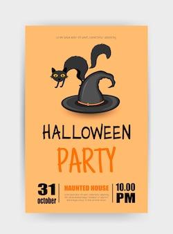 Открытка на хэллоуин с кошкой. мультяшный стиль. векторная иллюстрация.