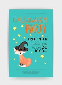 Halloween holiday card with fox. cartoon style. vector illustration.