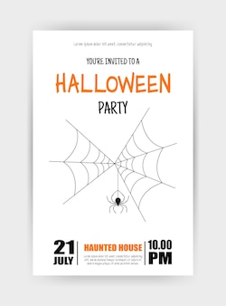 Halloween holiday card with spider. cartoon style. vector illustration.