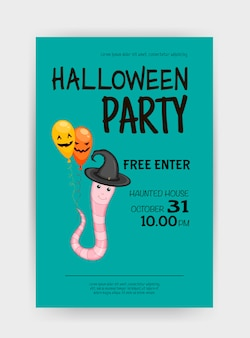 Halloween holiday card with worm. cartoon style. vector illustration.