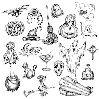 Halloween holiday cartoon horror set.