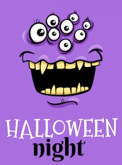 Halloween holiday cartoon poster with monster