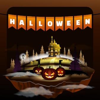 Halloween holiday celebration. flat vampire castle