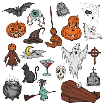Halloween holiday colorful cartoon horror set