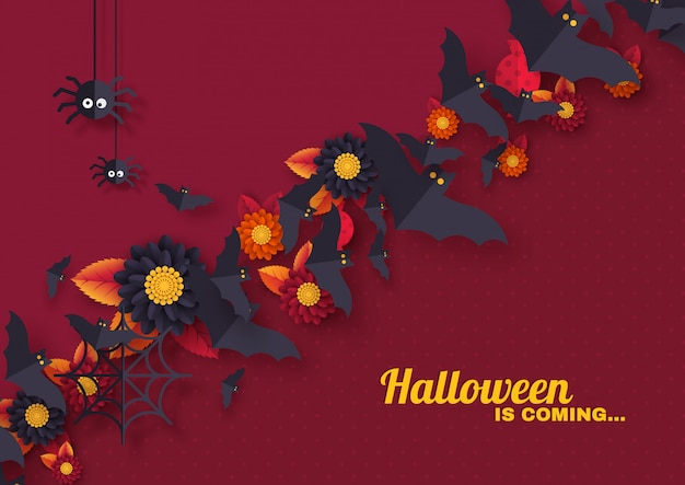 Halloween holiday design with decorative objects.