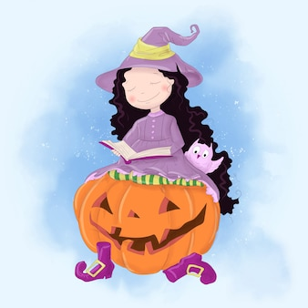 Halloween holiday greeting card with cute witch, pumpkin and owl.