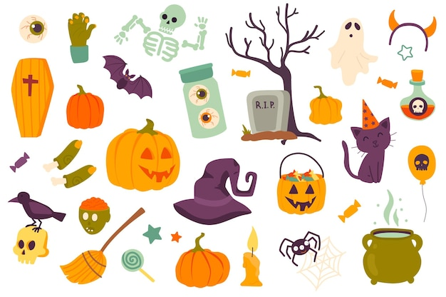 Halloween holiday isolated objects set collection of pumpkin cemetery witch hat candy cat