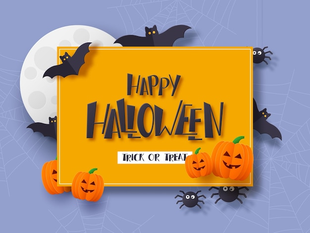 Плакат праздника хэллоуина. 3d стиль вырезки из бумаги летающие летучие мыши с полной луной и рисованной текст приветствия. темный фон. векторная иллюстрация.