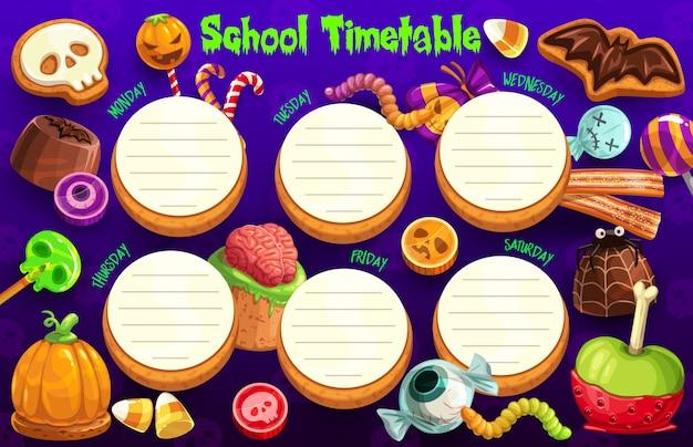 ハロウィーンの休日の学校の時間割、毎週プランナー