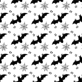 Halloween holiday seamless pattern background with hand drawing elements  pumpkin ghost