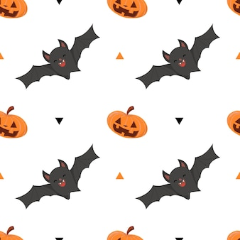 Halloween holiday, seamless pattern with pumpkin and bat on white background.